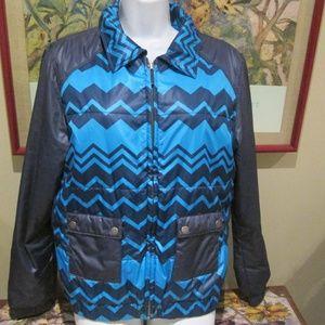 Missoni Target Puffer Jacket Blue Zig Zag Print